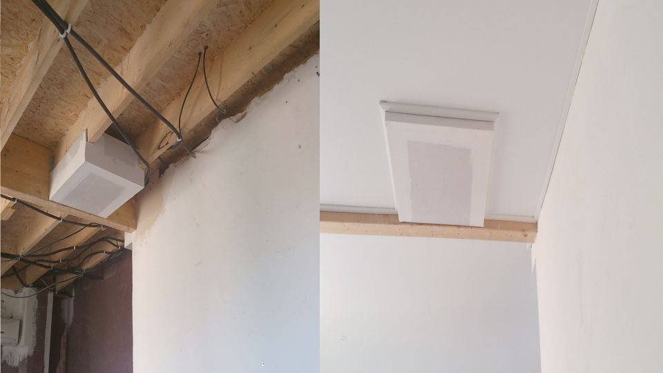 Drywall and stretch ceiling